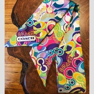 Coach Poppy Pop C Silk Ponytail Scarf 98955